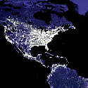 Map of US at night from space
