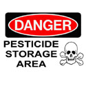 Pesticide storage area warning sign with skull