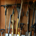 Garden tools in a garage