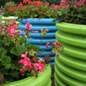 Big, brightly painted containers with geraniums