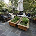 Raised beds with patio seating