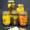 Several jars of home pickled produce
