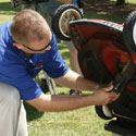 Dr. Jason Kruse shows how to maintain the lawn mower