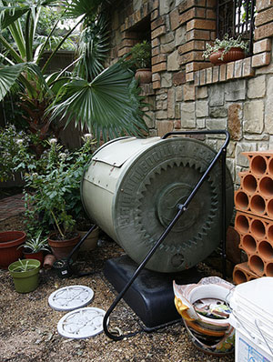 A rotating compost barrel