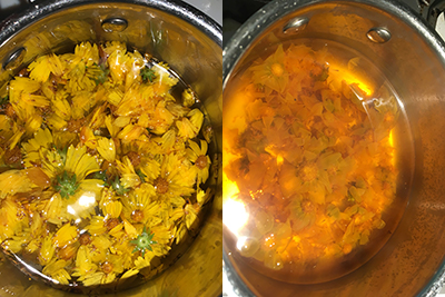 yellow flowers and water in a stainless steel saucepan, in the second photo the flowers have nearly disintegrated