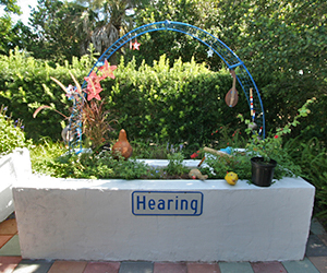 A raised garden bed with a sign that reads hearing