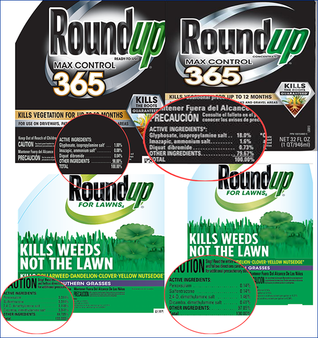 Images of Roundup product labels