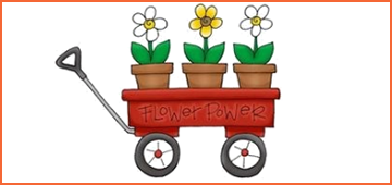 Graphic of wagon with three flower pots inside