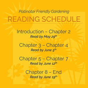 Reading Schedule for the book: get through chapter two by May 29th, read chapters three and four by June 5th, chapters five through seven by June 12, and finish the book by June 19th