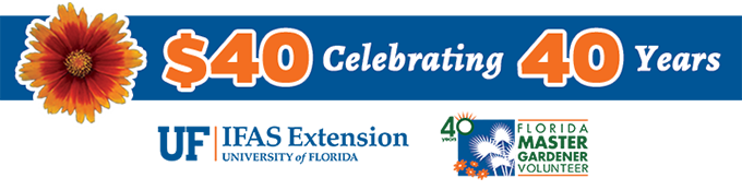 A graphic with the 40 for 40 headline, an illustration of a coreopsis flower, the UF/IFAS Extension logo, and the Master Gardener Volunteer 40th anniversary logo