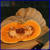 Tan pumpkin cut in half