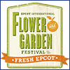 Illustration of a wooden sign reading Epcot Internation Flower and Garden Festival, Fresh Epcot