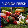 Photo of different fresh produce like broccoli, carrots, and mangos, with the words Florida Fresh