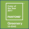 A light green square with a hint of yellow stating color of the year 2017, Pantone, Greenery, 15-0343