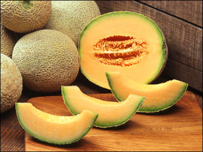 Cantaloupes cut open