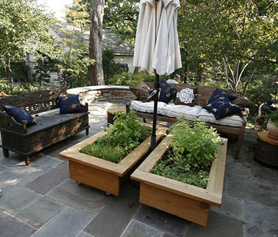 Raised beds with seating