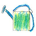 watering can crayon drawing